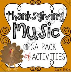 Thanksgiving Music Activities- Mega Pack- 49 Pages! from Music with Sara Bibee on TeachersNotebook.com (49 pages)  - This is a zip file including 49 PDF pages of musical Thanksgiving fun. All of the activities are focused around basic music theory, such as note identification (treble and bass), note and rest durations, and symbol identification.   Download the preview f