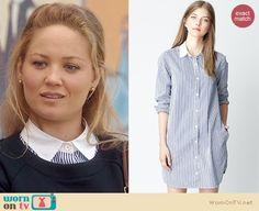 Julia's striped shirtdress and navy sweater dress on Parenthood. Outfit Details: http://wornontv.net/20458 #Parenthood #NBC