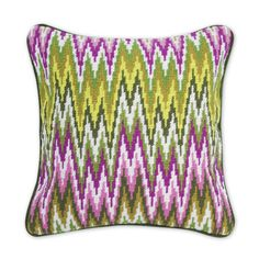 Jonathan Adler Green And Pink Bargello Sandpiper Drive Pillow in Bargello Pillows