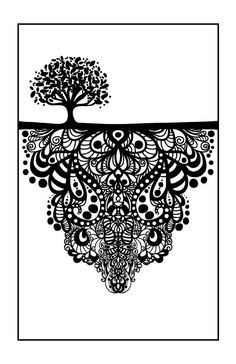 11 x 17 inches Black and White Poster Tree of Life by DoodleButton