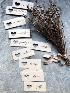 Wedding Place Cards Place Cards Name Tags Wedding Name Tags Heart Name Tags Heart Place Cards Kraft Place Cards Rustic Wedding Tags - Hochzeit Wedding Name Tags, Diy Wedding Name Place Cards, Diy Name Cards, Wedding Table Name Cards, Rustic Place Cards, Date Squares, Heart Place, Wedding Places, Rustic Wedding