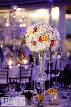 #pomander centerpiece with calla lilies and hanging crystals (in different colors)