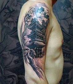Black and gray Japanese sleeve tattoo design for men - Black and gray Japanese . - Black and gray Japanese sleeve tattoo design for men – Black and gray Japanese … – Black an - Arm Sleeve Tattoos, Japanese Sleeve Tattoos, Tattoo Sleeve Designs, Tattoo Designs Men, Irezumi Tattoos, Japanese Temple Tattoo, Buddha Tattoos, Traditional Japanese Tattoos, Detailed Tattoo