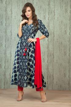 Chanderi cotton indigo kurta with trouser and dupatta from #Benzer #Benzerworld #indowesternwear #womenswear