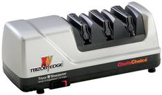 Chef'sChoice 15 Trizor XV EdgeSelect Electric Knife Sharpener by Edgecraft. $149.95. Measures approximately 6-1/5 by 12 by 6-2/5 inches; 3-year limited warranty. Flexible spring guides automatically adjust for the proper angle; simple on/off switch. Three stages include diamond abrasives and flexible, abrasive stropping disks. Converts 20-degree factory edge into high-performance Trizor 15-degree edge. Sharpener for American-, European-, and Asian-style knives, includin...
