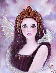 ACEO Printltd Ed 8 von 25 Göttin Drachen von TheArtOfReneeLLavoie