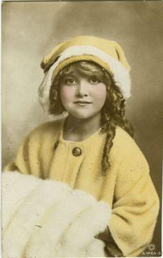 c 1915 British Children Child PRETTY LITTLE GIRL tinted photo postcard