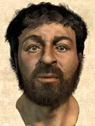 エルサレムで大量に発見された紀元1世紀のユダヤ人の人骨群の中から、当時の典型的なユダヤ人男性の頭がい骨を選出して復元した「イエスの顔」