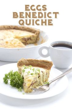 This delicious low carb quiche recipe with satisfy your craving for Eggs Benedict. Packed with Canadian bacon and drizzled with an easy blender hollandaise sauce, it makes a great low carb dinner or brunch. Keto Quiche, Low Carb Quiche, Quiche Recipes, Egg Recipes, Low Carb Recipes, Cooking Recipes, Frittata, Free Recipes, Keto Foods