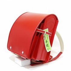 Japanese school backpack RANDOSERU red cowhide leather
