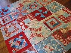 Turquoise and red quilt