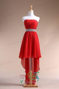 Strapless sleeveless floor-length chiffon hi-lo evening dress