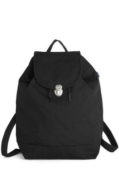 Park Bench Backpack in Black. Toss your sketchbook, journal, and harmonica into this canvas backpack by Baggu alongside your water bottle and afternoon snack, and spend your day lounging in the park! #black #modcloth