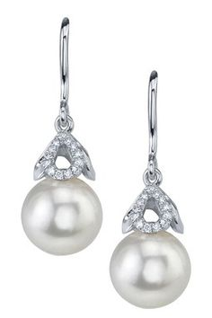 14K White Gold 8mm White Freshwater Cultured Pearl & Diamond Capped Earrings ♥✤   Keep the Glamour   BeStayBeautiful