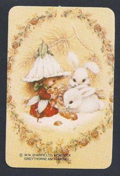 800-386-Blank-Back-Swap-Cards-MINT-Victoria-Plum-Fairy-amp-bunnies-peach