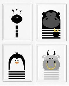 Modern black and white kids and nursery wall art prints, Monochrome nursery decor, Boys room decor - Bull, Zebra, Gorilla and Penguin illustration, Modern animal art prints for kids room and nursery by Limitation Free