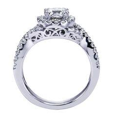 14k White Gold Diamond Halo Engagement Ring | Gabriel & Co NY | ER5798W44JJ