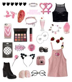 Pink and black by majastina-2004 on Polyvore featuring polyvore H&M WithChic Topshop Steve Madden Dolci Gioie Pink Box Casetify Lulu in the Sky Retrò NYX SoapRocks Vie Active fashion style clothing