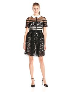 edf0925dd1c Donna Morgan Womens Short Sleeve Lace Shirt Dress Black 6     Check out the