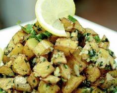 Garlickyier version (its a new word. I would probably roast them in the oven before mixing them with the sauce rather than fry. Lebanese Recipes, Greek Recipes, Syrian Recipes, Lebanese Cuisine, Potato Dishes, Potato Recipes, Vegetarian Recipes, Cooking Recipes, Healthy Recipes