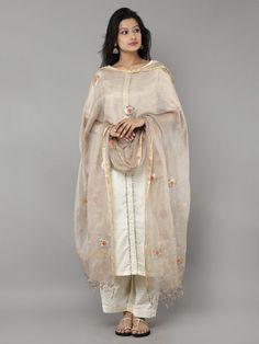 Golden Kota Silk Hand Embroidered Dupatta