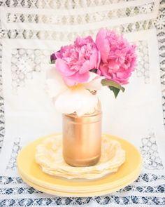 Gold spray painted mason jar