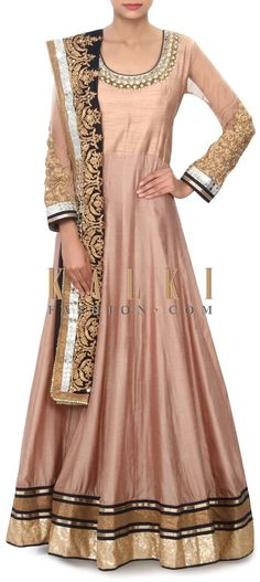 Buy Online from the link below. We ship worldwide (Free Shipping over US$100) Price- $289 Click Anywhere to Tag http://www.kalkifashion.com/brown-anarkali-suit-adorn-in-mirror-and-aari-embroidery-only-on-kalki.html