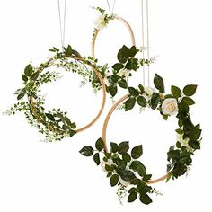 Ling's moment Summer Greenery Wedding Vine Wreaths Set of 3, Rustic Wedding Backdrop, Artificial Roses Plant Flower Garland, Woodland Wedding decoration Floral Hoop