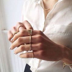 simple Gold Rings, Meghan Rienks, Jewelry Box, Jewelry Rings, Gold Jewelry, Jewelry Making, Dainty Jewelry, Chain Rings, Stacked Rings