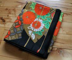 Obi, Fukuro Obi, Vintage Japanese Obi Belt, For Wear, Table Runner, Valance, or Pillow, Bag Material, Black Obi, Free Air Mail Shipping by KominkaFabricsJapan on Etsy