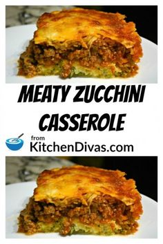 This Meaty Zucchini Casserole includes a wonderful zucchini base! Your favorite ground meat and vegetables in a tomato sauce topped with cheese! This dish is easy, delicious and satisfies every time! Easy Casserole Recipes, Easy Dinner Recipes, Easy Meals, Zucchini Casserole, Lasagna Casserole, Casserole Kitchen, Ground Beef Casserole, Cooking Recipes, Healthy Recipes