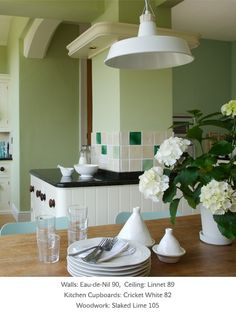 Painted kitchen in Little Greene paint colours 'Eau-de-Nil', 'Cricket White' and 'Slaked Lime' Kitchen Wall Colors, Kitchen Paint, Kitchen Cupboards, Kitchen Decor, Green Paint Colors, Wall Colours, Home Wall Painting, Little Greene Paint, Modern Cottage
