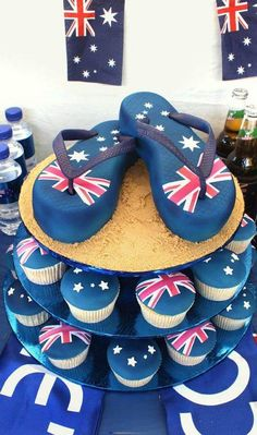 Love the thongs on the Australia Day cake. And the cupcakes are a nice touch too. Australian Party, Australian Flags, Australian Food, Great Barrier Reef Australia, Australia Cake, Australia Day Celebrations, Aus Day, Petit Cake, Aussie Food