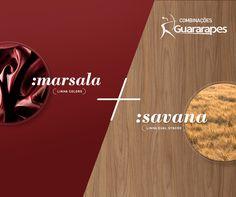 A tonalidade do Marsala e a textura do Savana formam um ambiente quente e convidativo, excelente opção para decorar cozinhas e espaços gourmet. Esta é uma combinação vibrante e trará mais personalidade aos seus projetos.