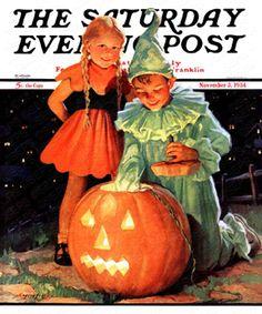 Lighting The Pumpkin by Eugene Iverd, Nov. 3, 1934, The Saturday Evening Post.