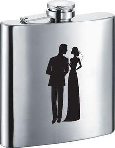 Visol Charming Groom and Bride Stainless Steel 6oz Hip Flask