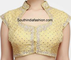 Collar Neck Kundan Work Blouse - All About Saree Jacket Designs, Blouse Designs High Neck, Simple Blouse Designs, Stylish Blouse Design, Designer Blouse Patterns, Fancy Blouse Designs, Kurta Neck Design, Collor, Work Blouse