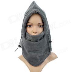 Outdoor Sports Polar Fleece Hood Neck Warmer Wind Resistant Hat - Grey - For cold nights