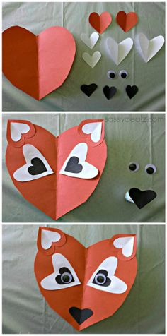 Brilliant Picture of Holiday Paper Crafts For Kids Holiday Paper Crafts For Kids Paper Heart Fox Craft For Valentines Seasonal And Holiday Ideas Crafts Holiday Kids Paper papercraftsimple 573997915008358614 Valentines Bricolage, Kinder Valentines, Valentine Day Crafts, Valentines Day Party, Valentine Decorations, Holiday Crafts, Valentine's Day Crafts For Kids, Toddler Crafts, Craft Kids