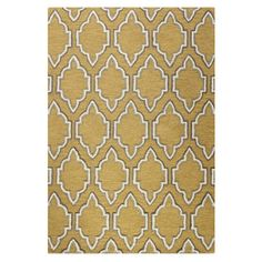 Wool rug with a trellis-inspired motif.  Product: RugConstruction Material: 100% WoolColor: Gold...