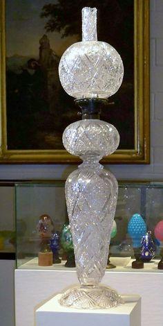 Very tall antique cut glass oil/kerosene l&. & Antique~Florida~Flamingo oil lamp~Victorian Era | oil and kerosene ...