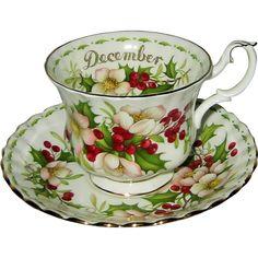 Royal Albert - Flower of the Month - December Teacup Set - Christmas from auntyannesattic on Ruby Lane