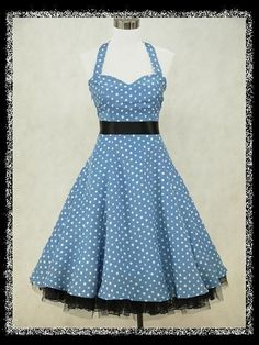 dress190 BLUE   WHITE CHIFFON POLKA DOT 50s ROCKABILLY COCKTAIL PROM DRESS  8-26 in 87776ffd84