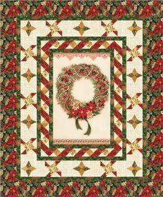 Pattern designed by Antler Quilt Design featuring Holiday Flourish 8, Quilter's Linen Metallic, and Winter's Grandeur 3 from Robert Kaufman Fabrics.