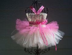 Baby Girl tulle tutu dress pink/ivory tutu dress by KarisaDavis, $27.00