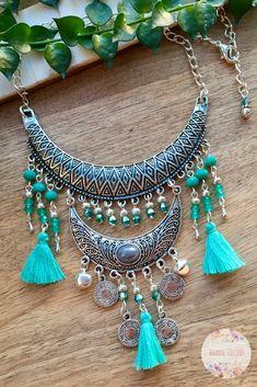 Boho Statement Necklace | Boho Fringe Necklace | Emerald Green Bib | Emerald Necklace | Boho Tassel Bib | Tribal Necklace | Ethnic Necklace #necklace #bohojewelry #bohonecklace #statementnecklace #tasselnecklace