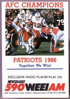 1986 NEW ENGLAND PATRIOTS WEEI RADIO 590 POCKET SCHEDULE FREE SHIPPING #Pocket #PocketSchedules