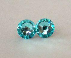 Light Turquoise crystal stud earrings Swarovski by Mindielee
