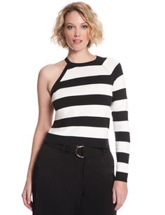 Plus Size Fashion - One Shoulder Striped Sweater Black/Ivory $68 PLUS 50% OFF w/ Promo Code SPLURGE   Earn Cashback when you shop at ELLOQUII.com! Sign up with DubLi for FREE at www.downrightdealz.net and GET PAID for all your online shopping!
