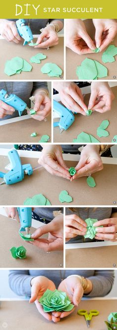 Create these miniature no-sew DIY leafy succulents from felt sheets and a bit of…